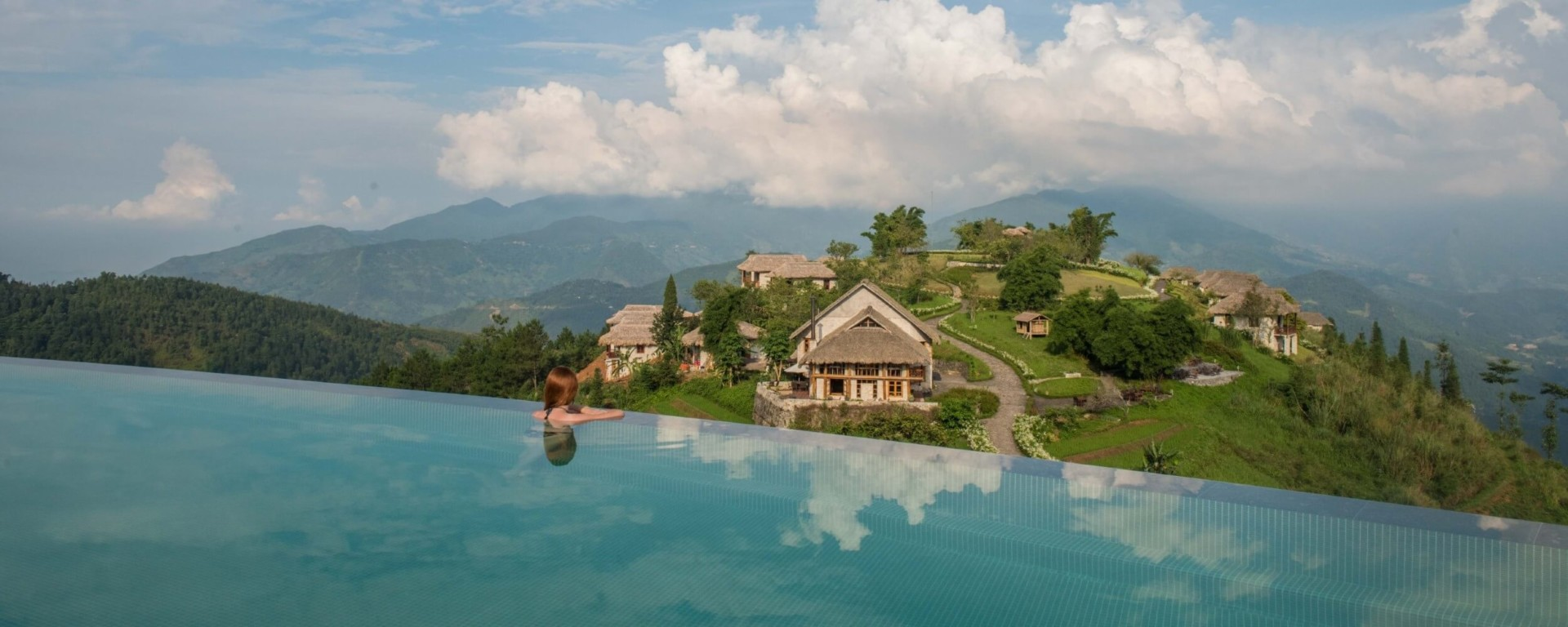 Relaxation at the infinity pool at Topas Ecolodge