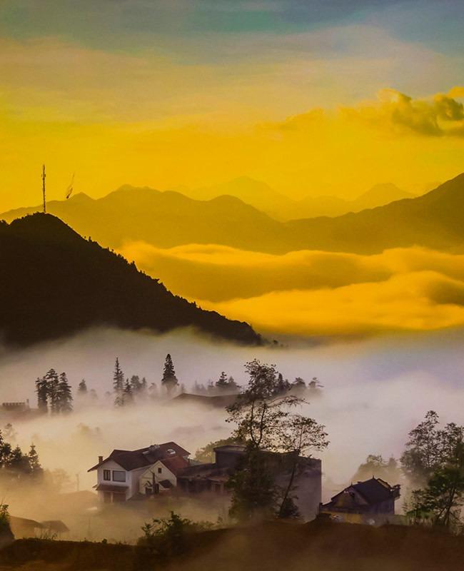 Sapa landscape banner sunset